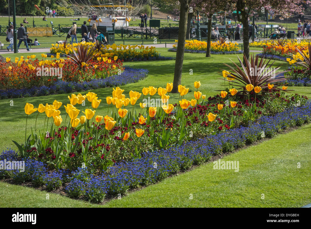 Flower Beds in Bournemouth Gardens at Easter weekend, Dorset, England, UK - Stock Image