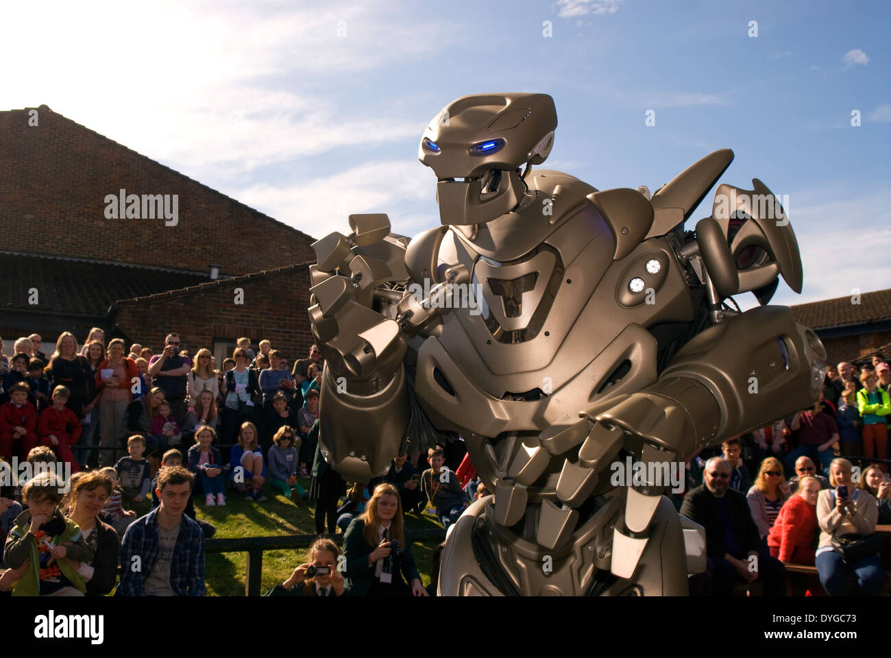 Titan the Robot appearing at the STEM (Science, Technology, Engineering, Mathematics) Festival, Liphook, Hampshire, UK. - Stock Image