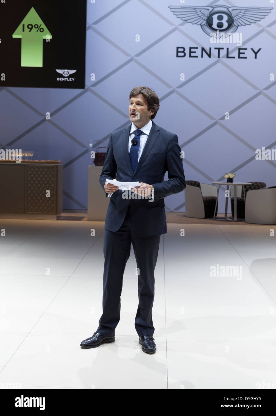 President and CEO Bentley Motors Christophe Georges speaks at company presentation at New York International Auto Show - Stock Image