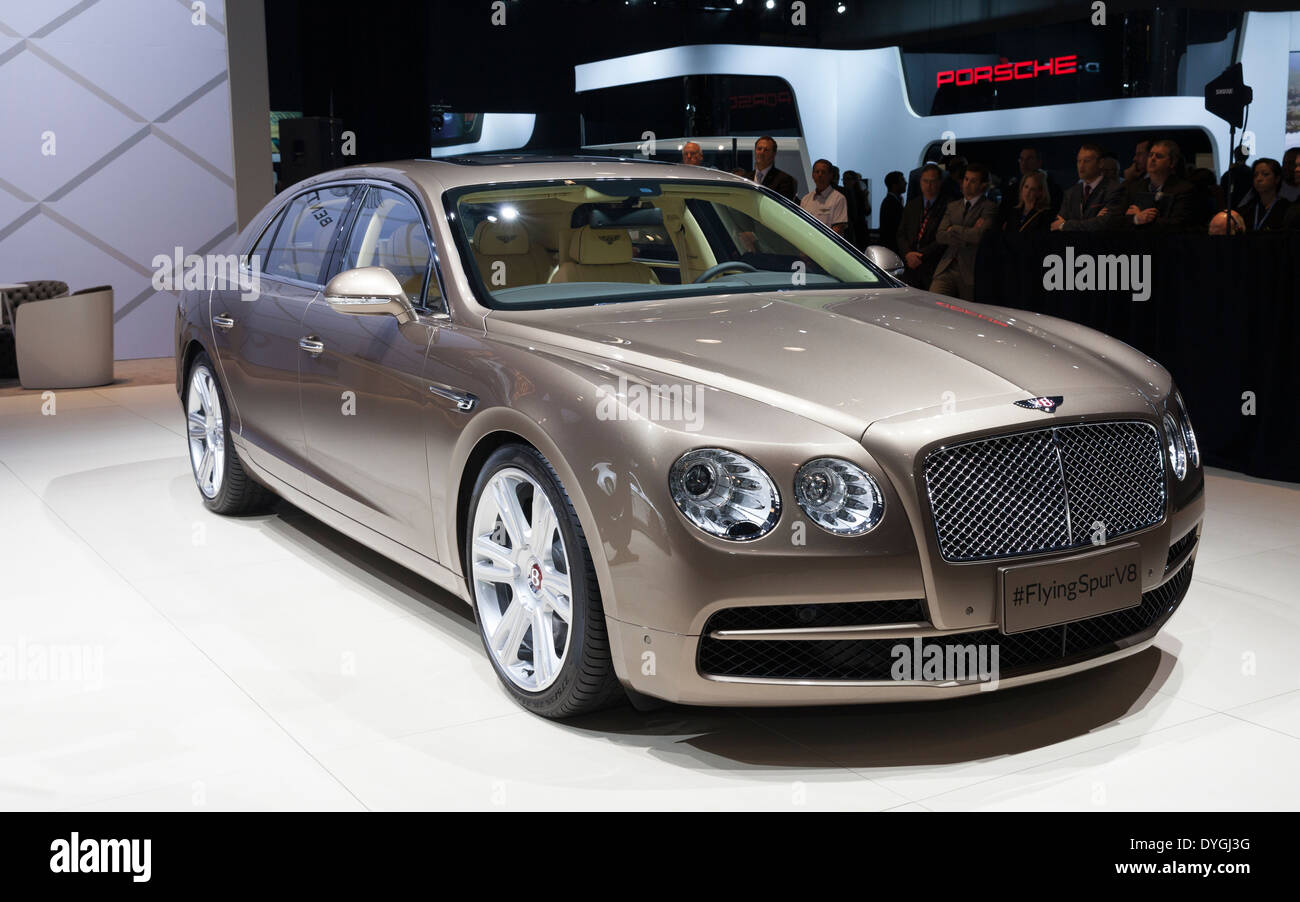 Exterior design of Bentley Motors FlyingSpur V8 car edition 2015 on display at New York International Auto Show - Stock Image