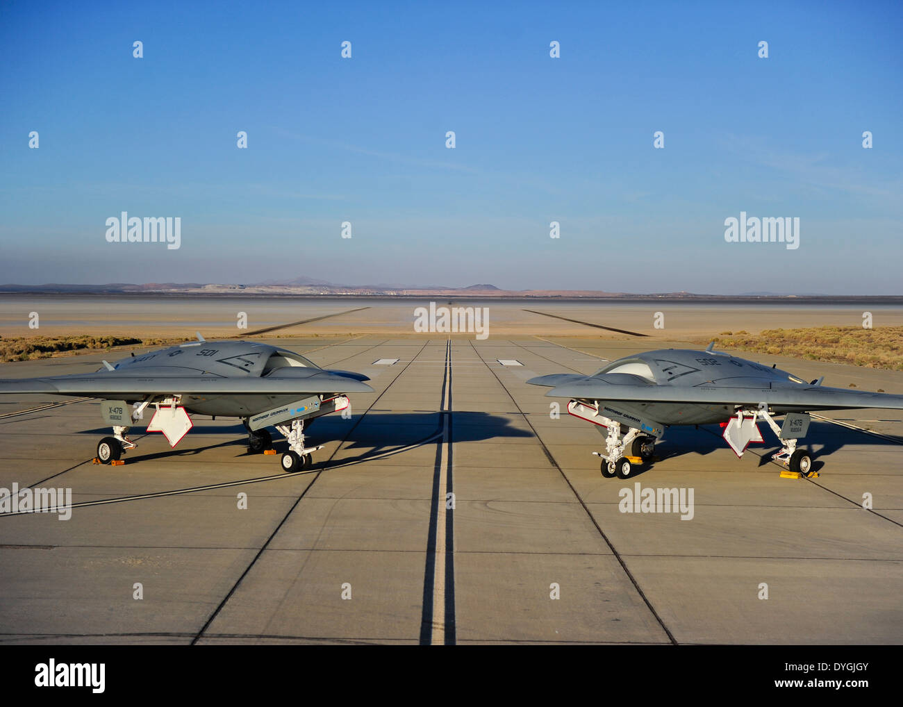 US Navy unmanned X-47B drone aircraft at Edwards Air Base October 10, 2011 in Lancaster, California. - Stock Image