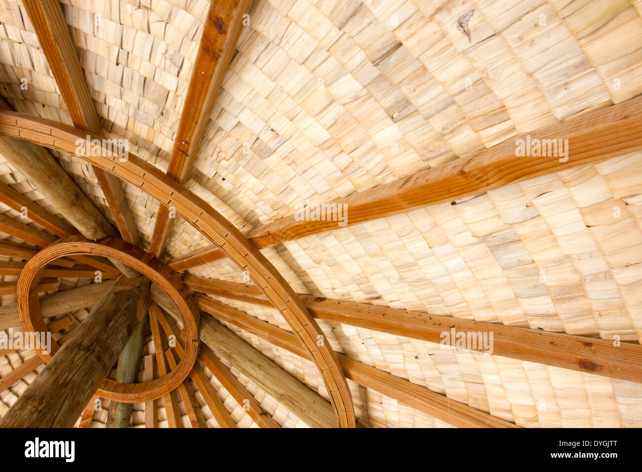 Ceiling of round thatched roof hut showing structure of woven palm thatch - Stock Image