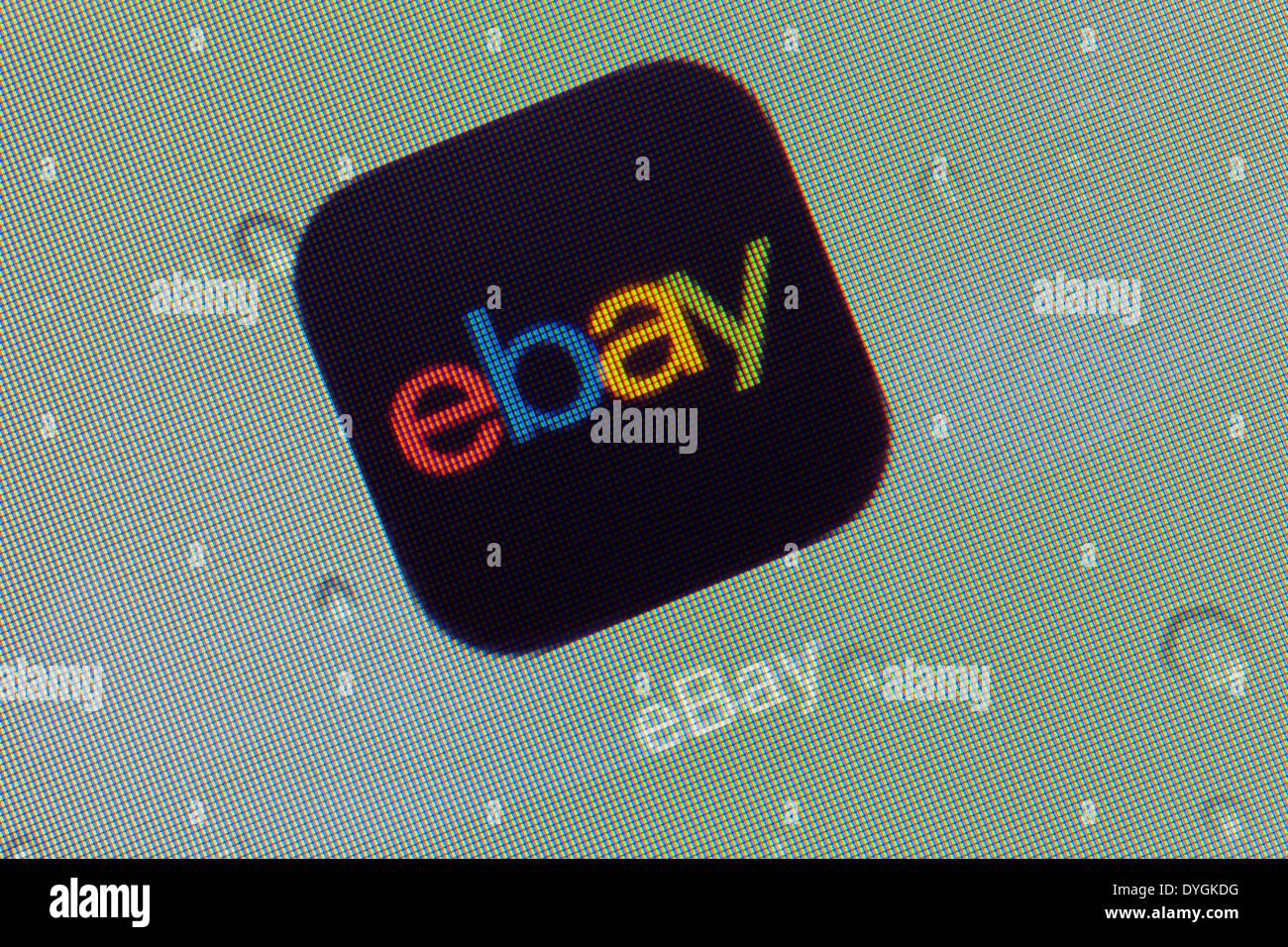 Ebay logo app icon on iPad apps logos icons - Stock Image