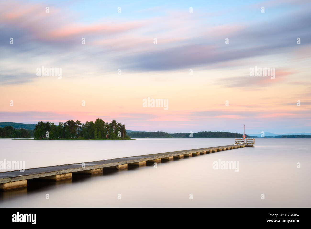 Jetty on the lake, Orsa Lake, Dalarna, Sweden - Stock Image