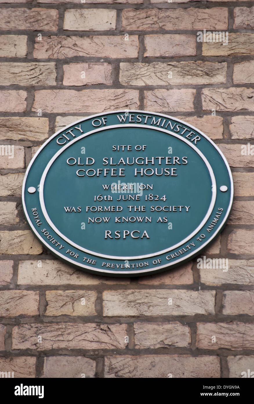 westminster green plaque marking the site of the coffee house where, in 1824, the rspca was founded, london, england - Stock Image