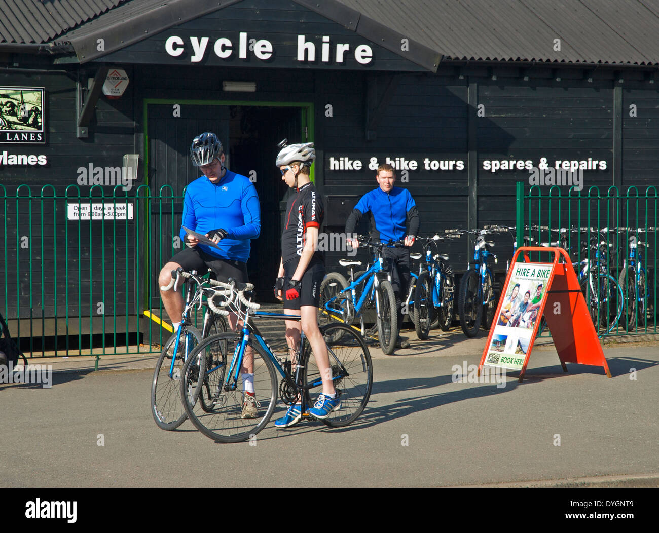 Cycles for hire, Windermere, Lake District National Park, Cumbria, England UK - Stock Image