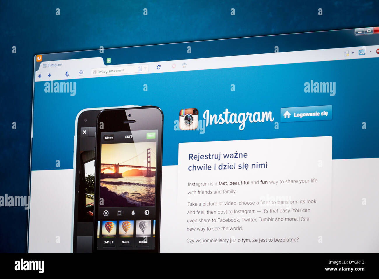 BELCHATOW, POLAND - APRIL 11, 2014: Photo of Instagram social network homepage on a monitor screen. - Stock Image