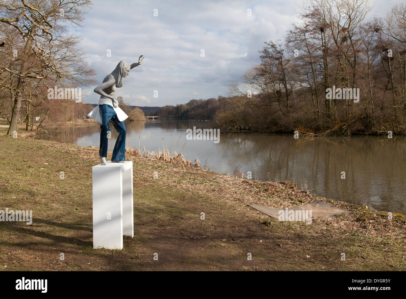 Woodland Spirit Diana by  Lucy & Jorg Orta at Yorkshire Sculpture Park, UK - Stock Image