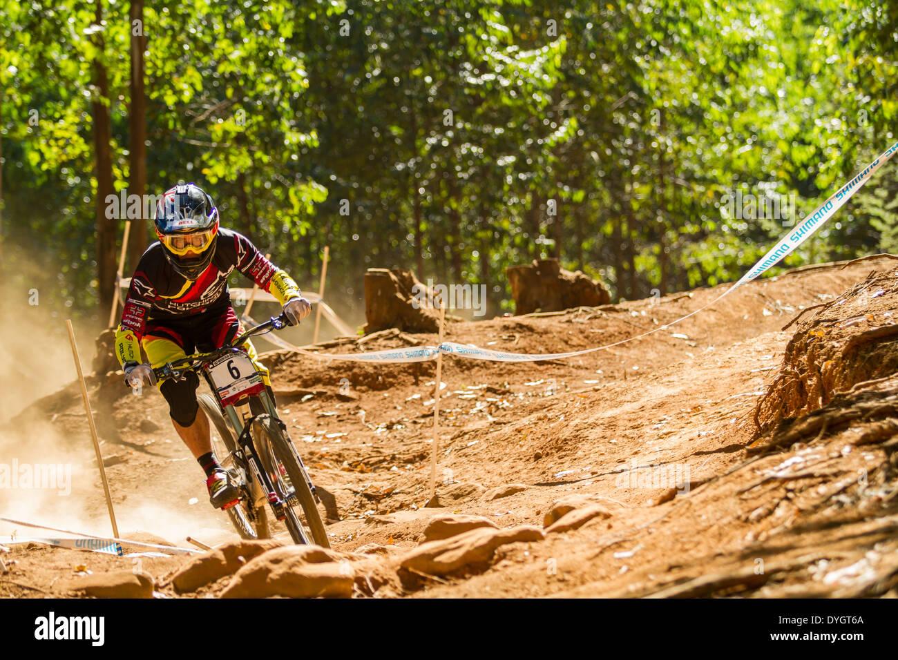 Cornering on downhill track - Stock Image