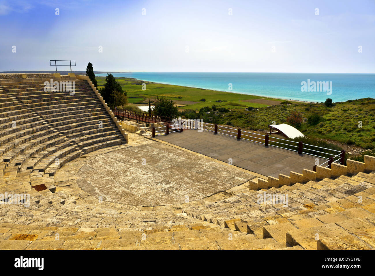 Historic Roman theatre of Kourion on the island of Cyprus. - Stock Image