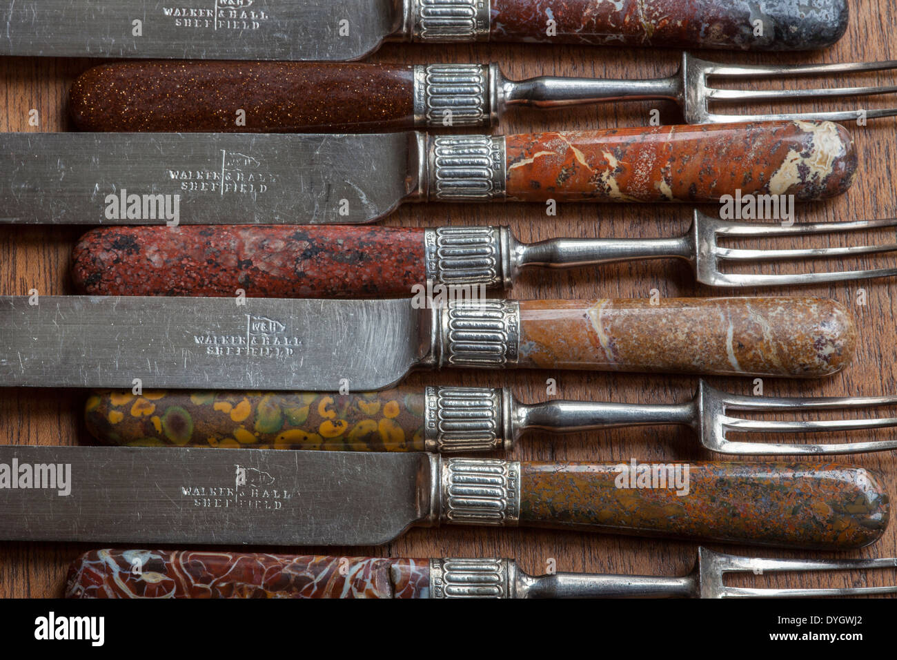 19th century stone handled knives and forks - Stock Image