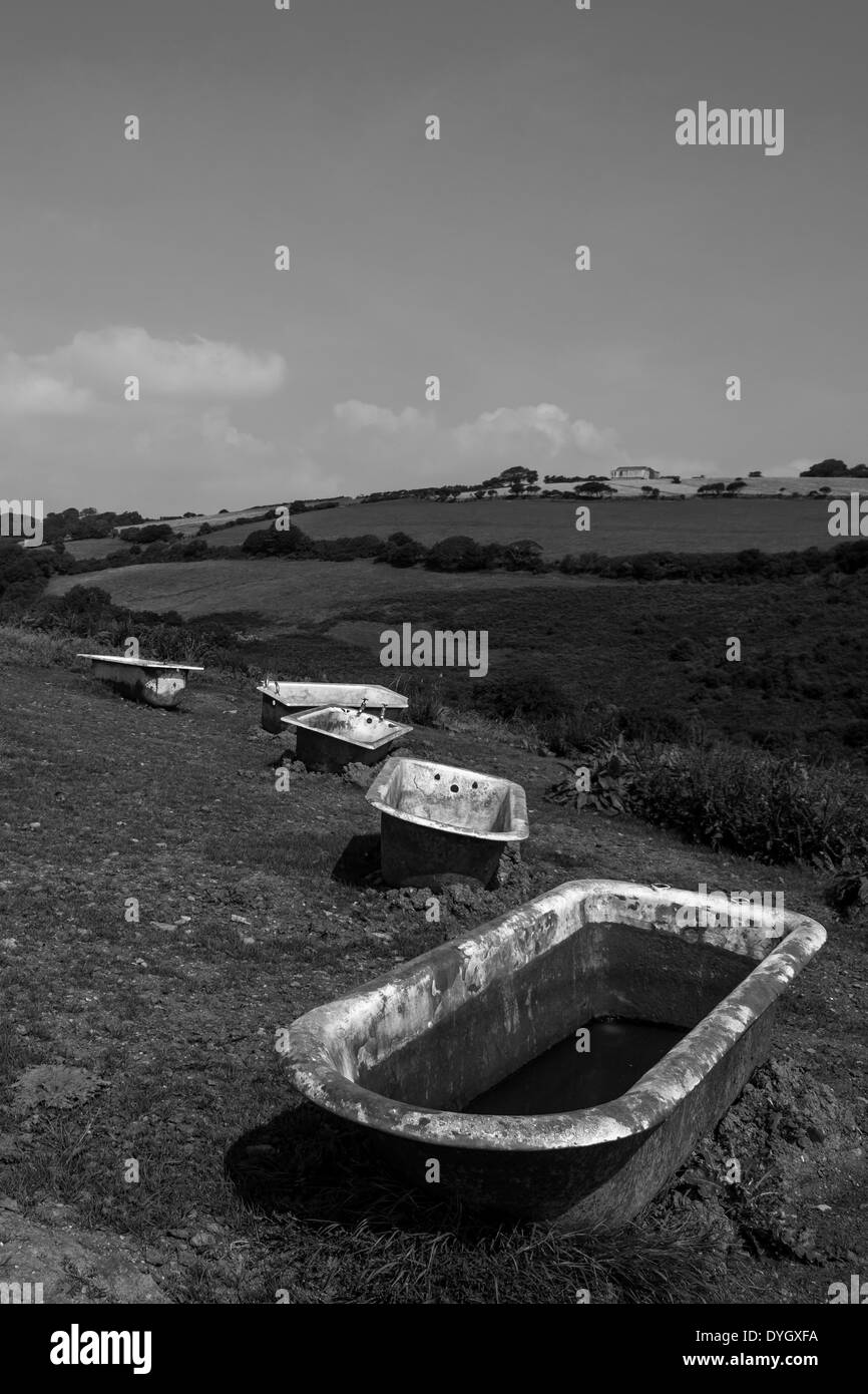 Bathtubs in Countryside, Cornwall - Stock Image