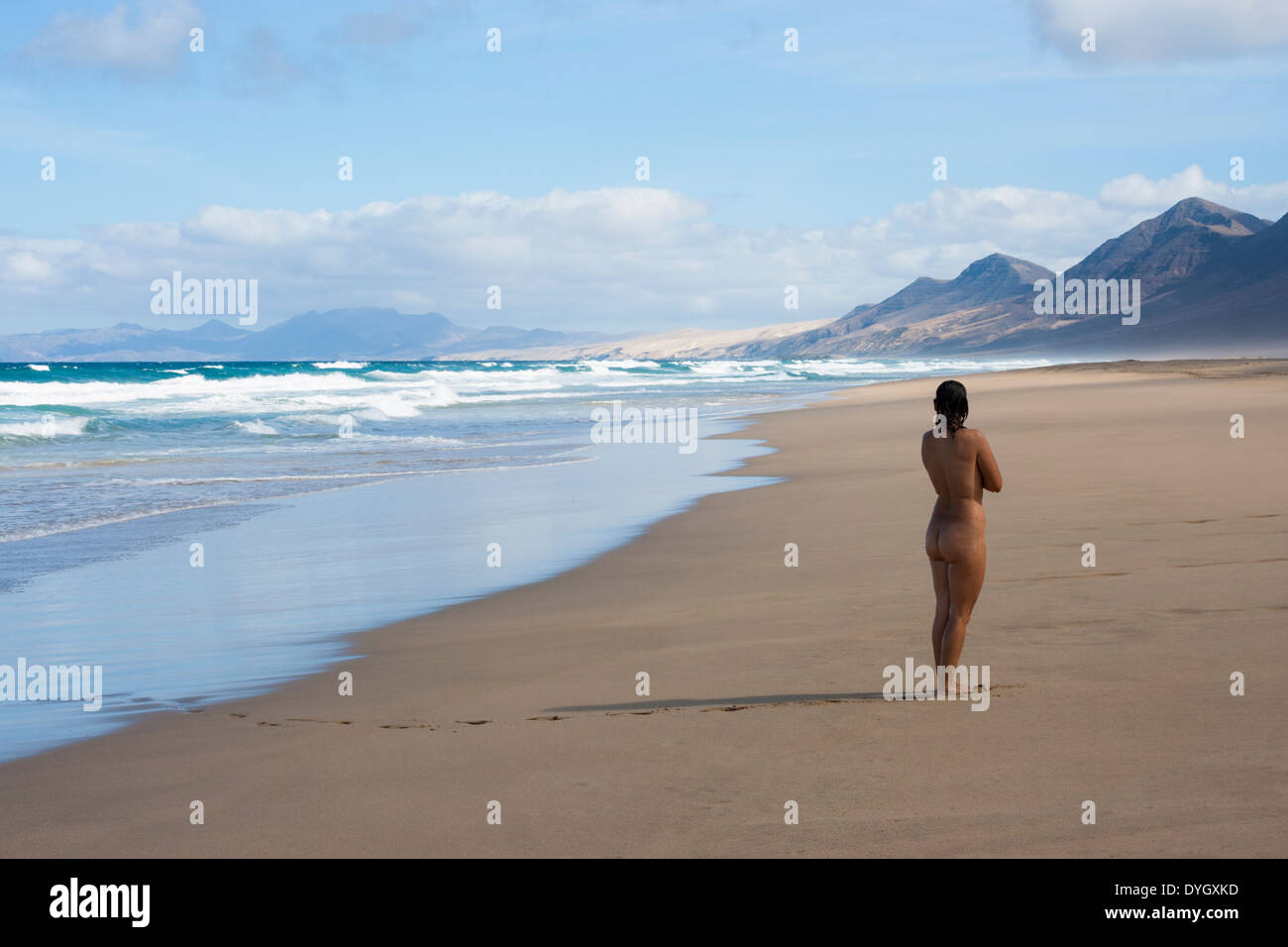 Nude Woman On Cofete Beach On Fuerteventura