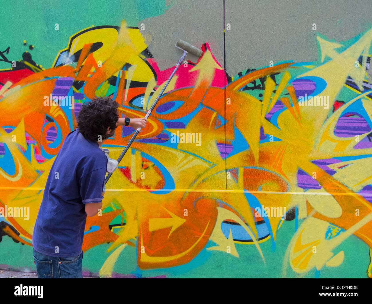 Paris, France, Young French Graffiti Artist Painting Wall, Abstract ...