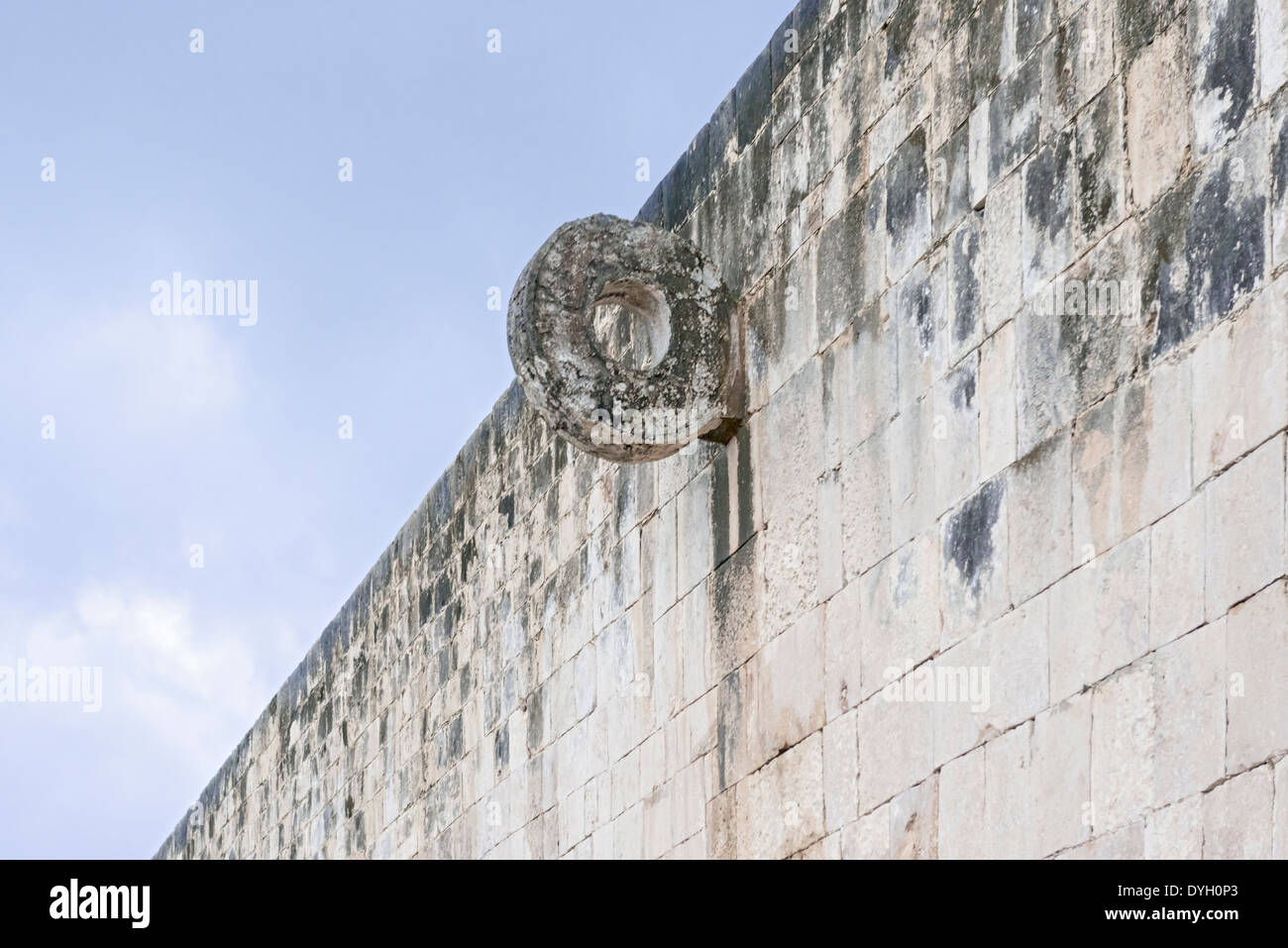 Stone Ring located 9 m (30 ft) above the floor of the Great Ballcourt, in Chichen Itza, Mexico. - Stock Image
