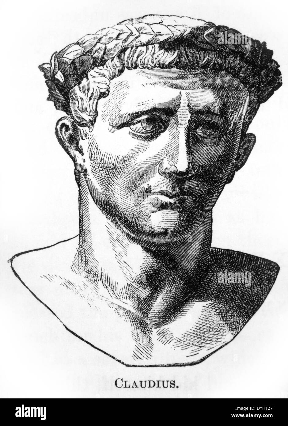 Emperor Claudius (10 BC-54 AD,) Portrait, Engraving, 1882 - Stock Image
