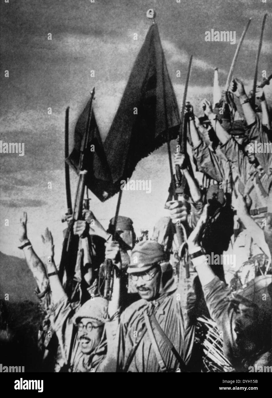 Victorious Japanese Troops after Invasion of Manchuria, circa 1931 - Stock Image