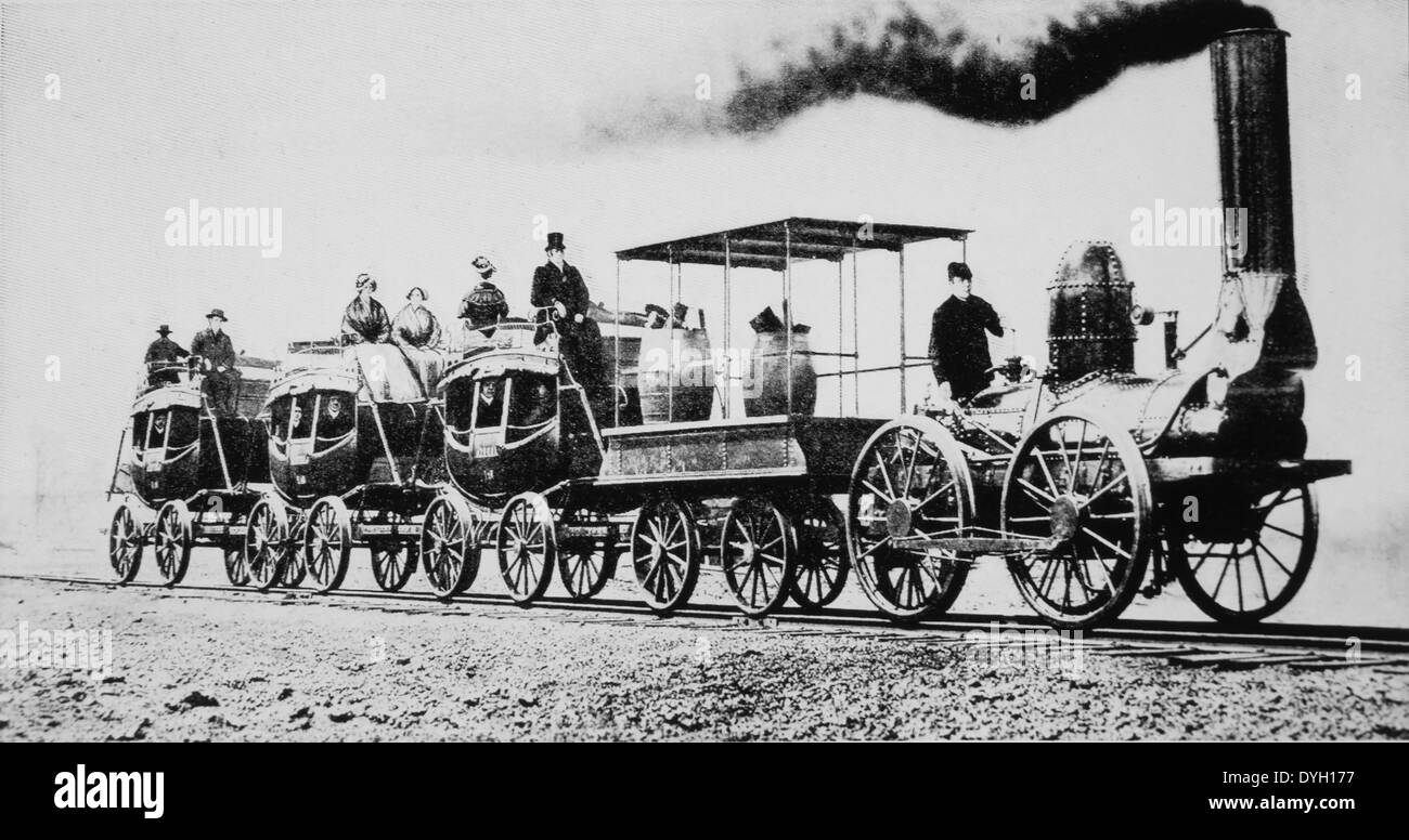 DeWitt Clinton, Third Locomotive Train Built in USA for Actual Service on Railroad, Albany to Schenectady, New York, 1831 - Stock Image