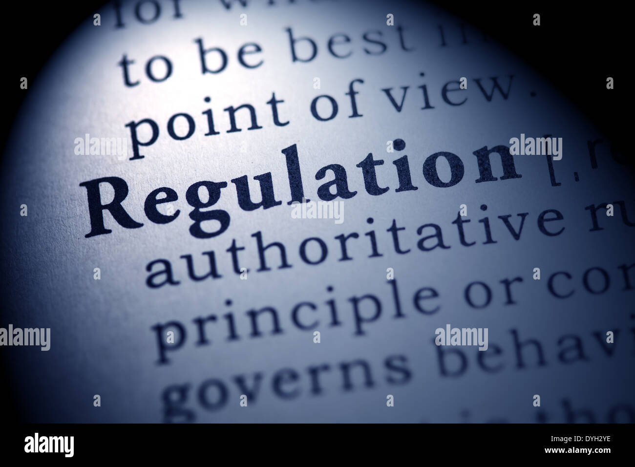 Fake Dictionary, Dictionary definition of the word regulation. - Stock Image