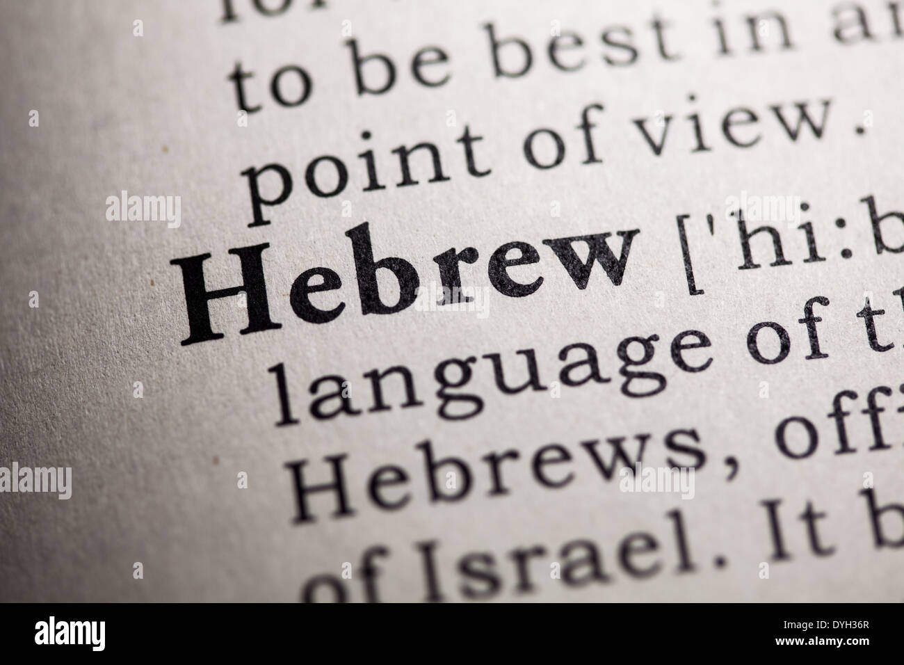 Fake Dictionary, Dictionary definition of the word Hebrew. - Stock Image