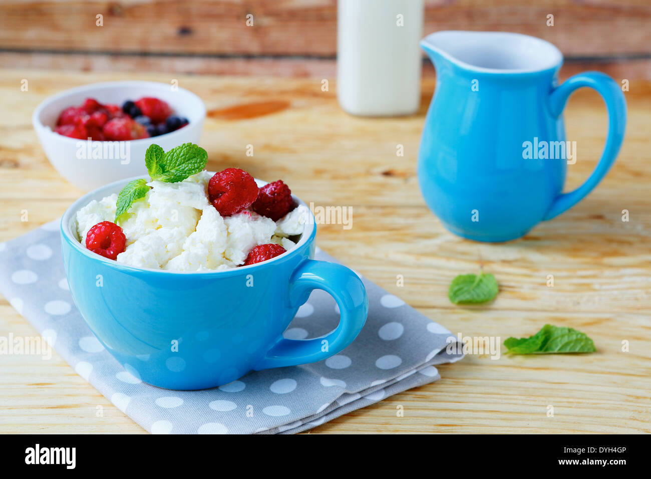 cup cottage cheese with berries, food closeup - Stock Image