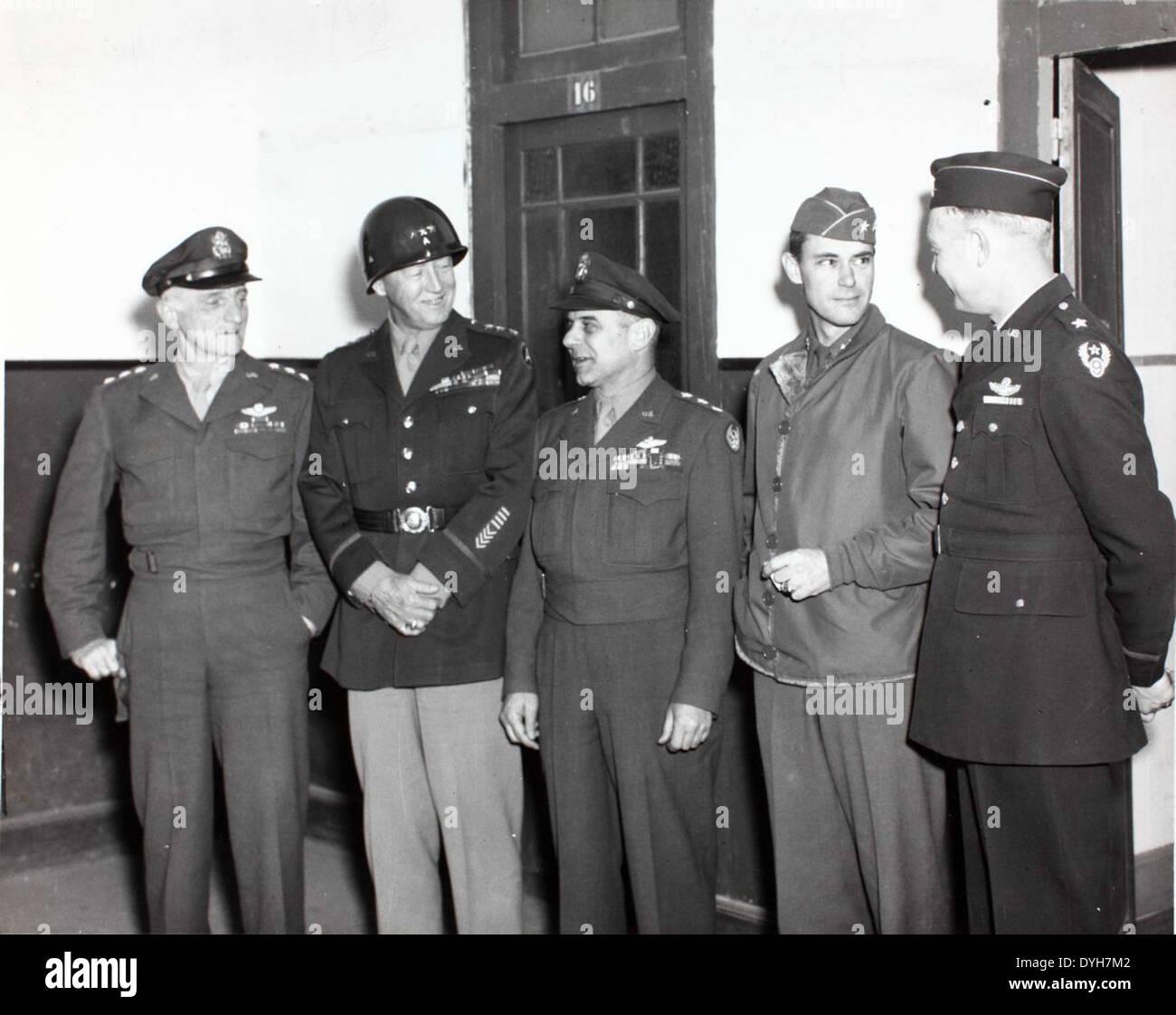 General Doolittle, Lt. Gen Spaatz, Lt. Gen Patton and Gen Vadenberg - Stock Image