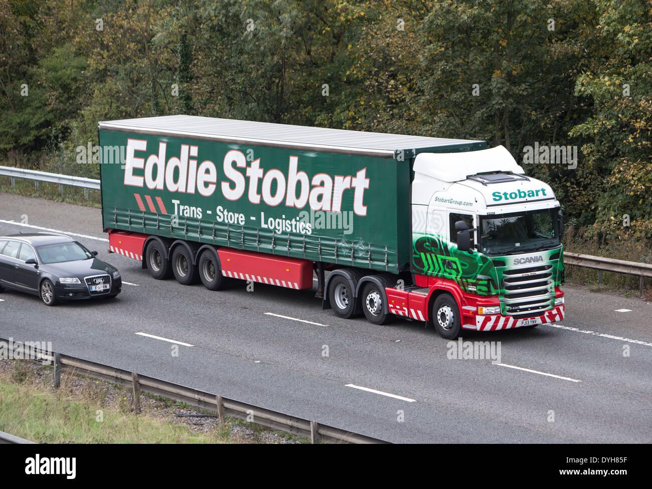 Eddie Stobart lorry on the M25 motorway delivering cargo - Stock Image