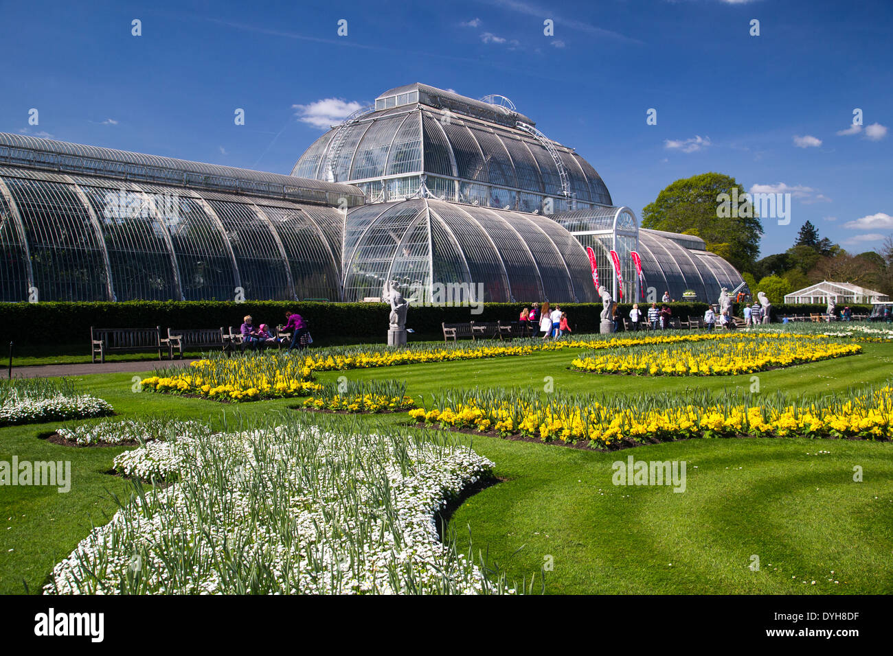 The Palm House at Kew Gardens-The finest example of a  Victorian Glass structure with 16,000 panes of glass - Stock Image