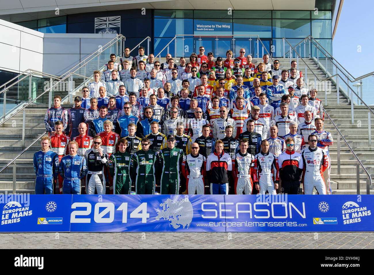 Northampton, UK. 18th Apr, 2014. The European Le Mans Series drivers gather for a group photo on the steps of the Stock Photo