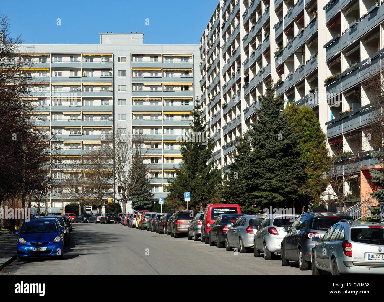 Dresden, DDR Plattenbau in Johannstadt - Stock Image