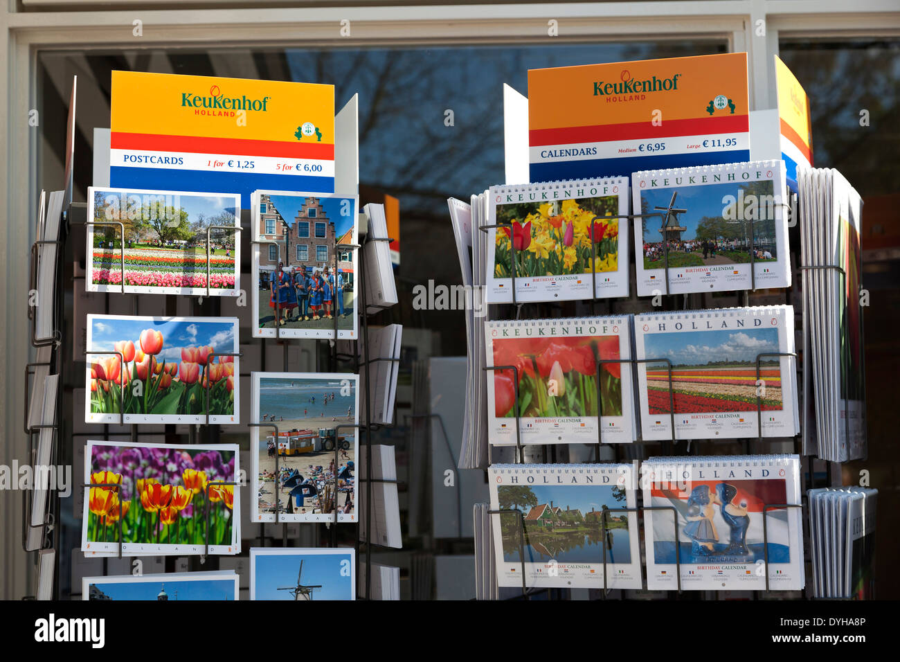 Postcars and calendars at the Keukenhof in Lisse, Holland - Stock Image