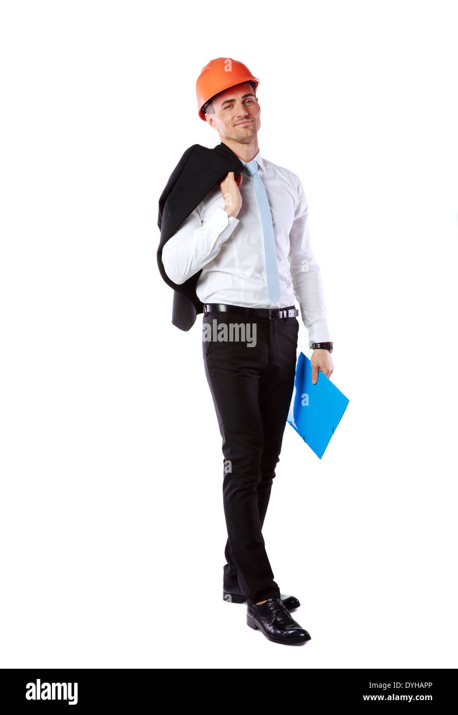 Businessman in helmet with blue folder over white background - Stock Image