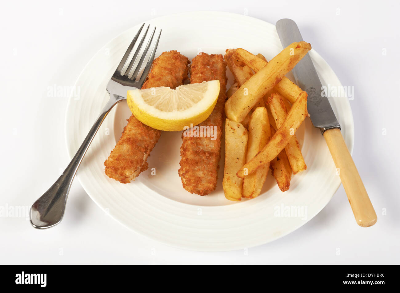 Gourmet fish fingers & chips - Stock Image
