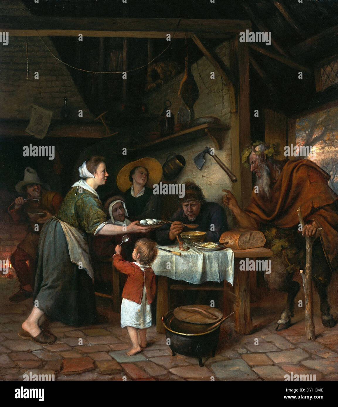 Jan Steen Satyr and the Peasant Family - Stock Image
