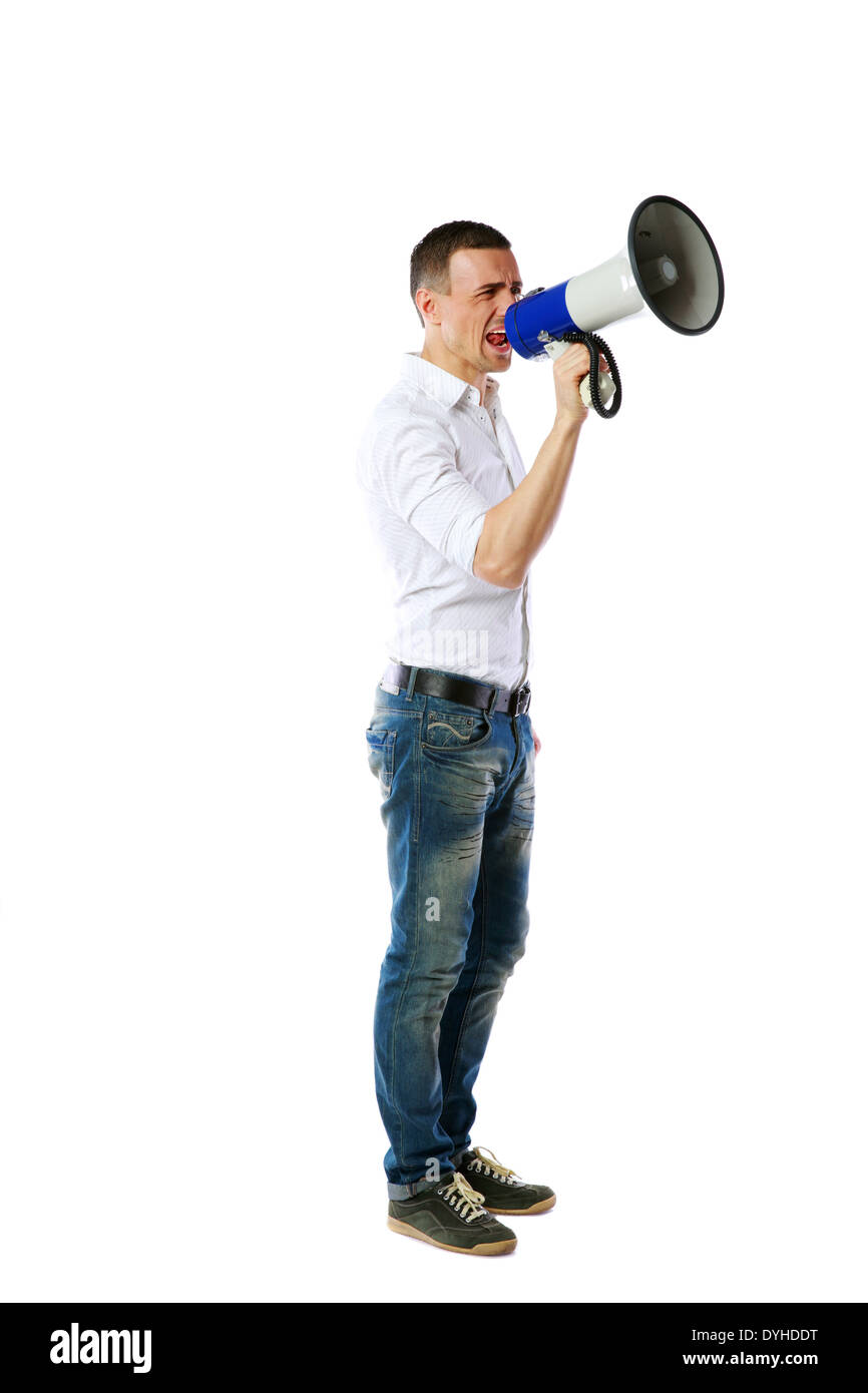 Man screaming on the megaphone isolated on white background - Stock Image