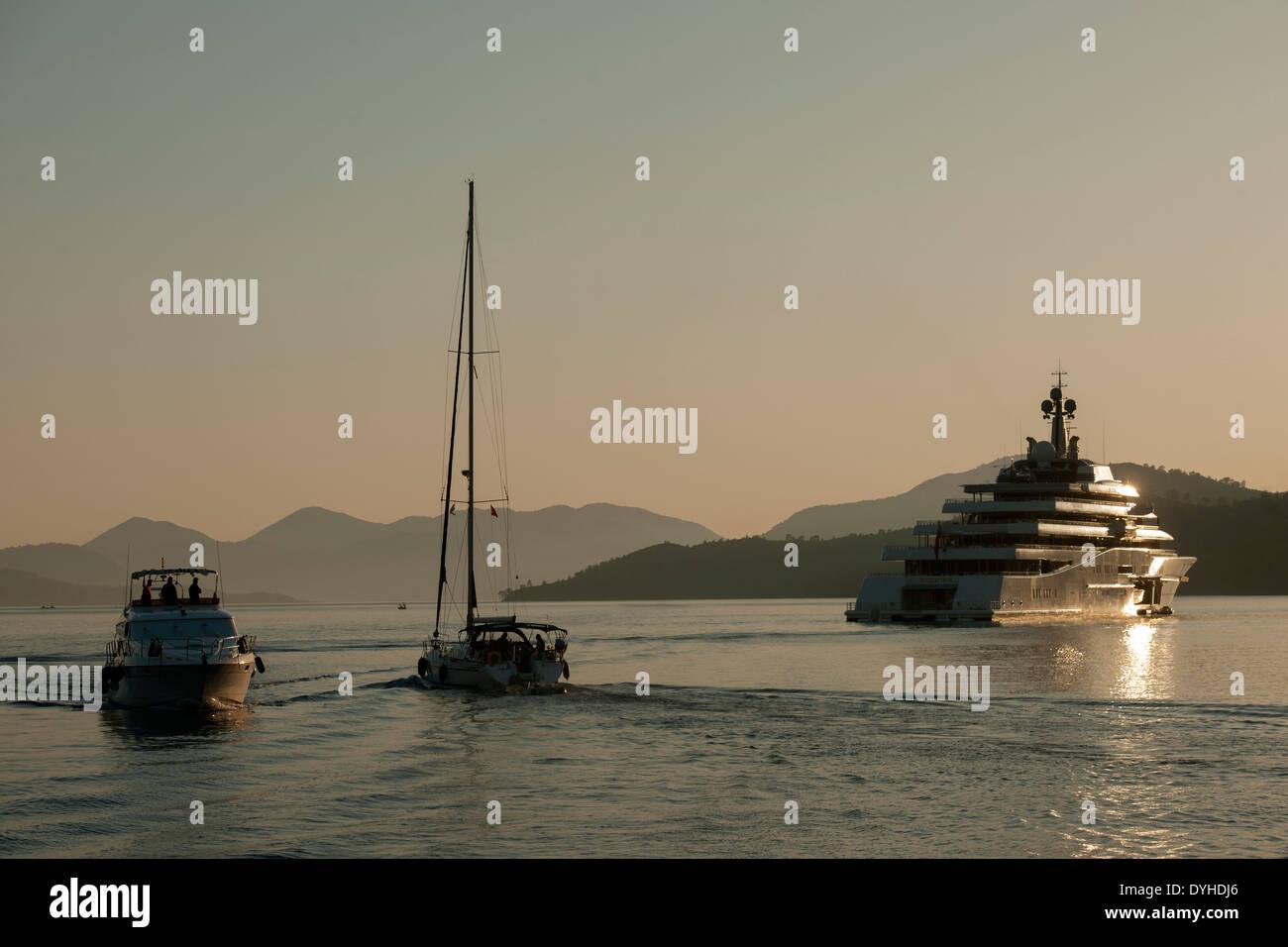 Türkei, Provinz Mugla, Göcek, die Eclipse ist mit einer Länge von 162 Meter die aktuell zweitlängste Mega-Yacht der Welt. - Stock Image
