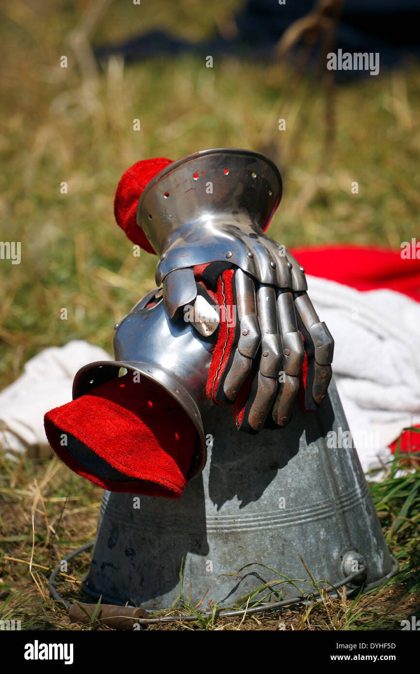 Knights gloves, steel and red leather Stock Photo