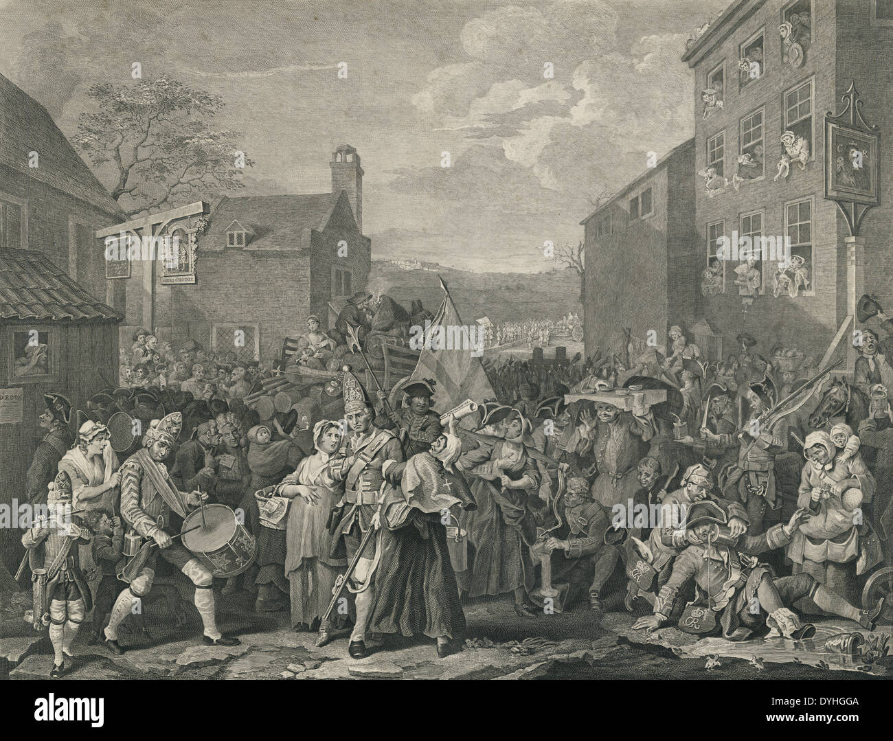 Original 1761 engraving, 'The March of the Guards to Finchley' by William Hogarth. - Stock Image
