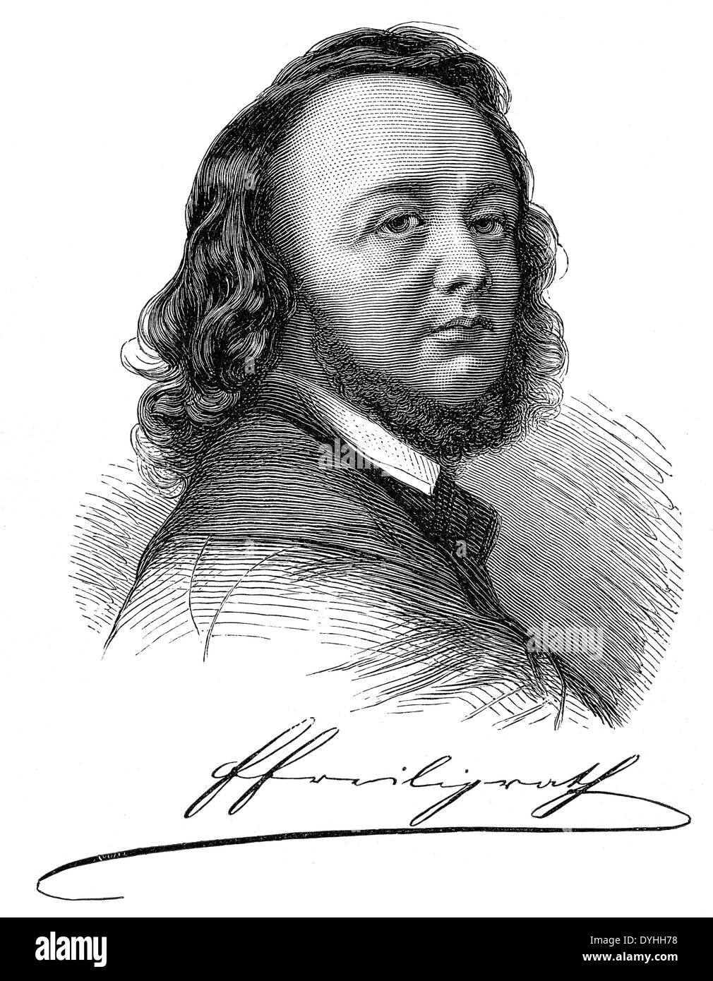 portrait of Hermann Ferdinand Freiligrath, 1810 - 1876, a German Lyric poet, translator and poet - Stock Image