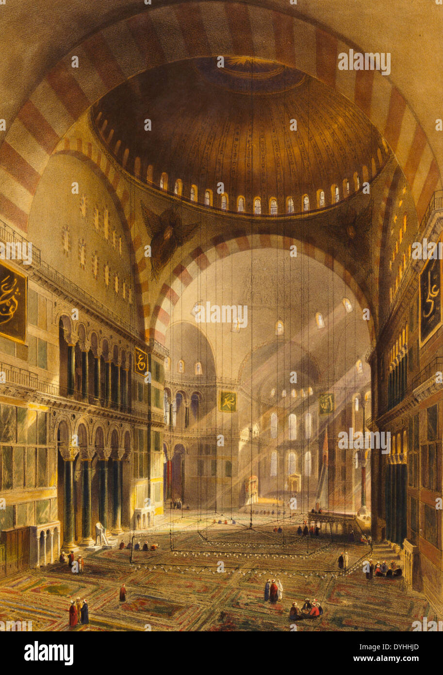 L'intérieur de la mosquée, avant sa restauration - nave of Ayasofya Mosque, formerly the Church of Hagia Sophia, facing east, before restoration; with groups of men in traditional dress. 1852 - Stock Image