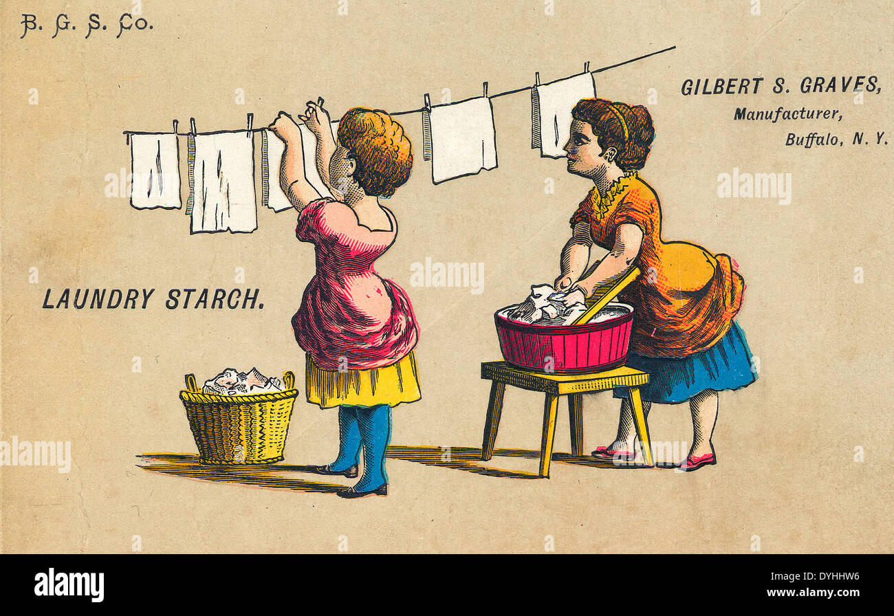 Laundry Starch Ad, circa 1870 - Gilbert S Graves Manufacturer Buffalo, New York - Stock Image