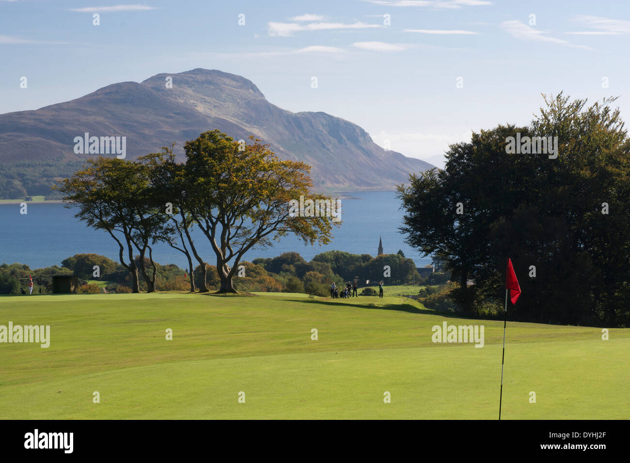 lamlash golf course isle arran golfers holy island - Stock Image