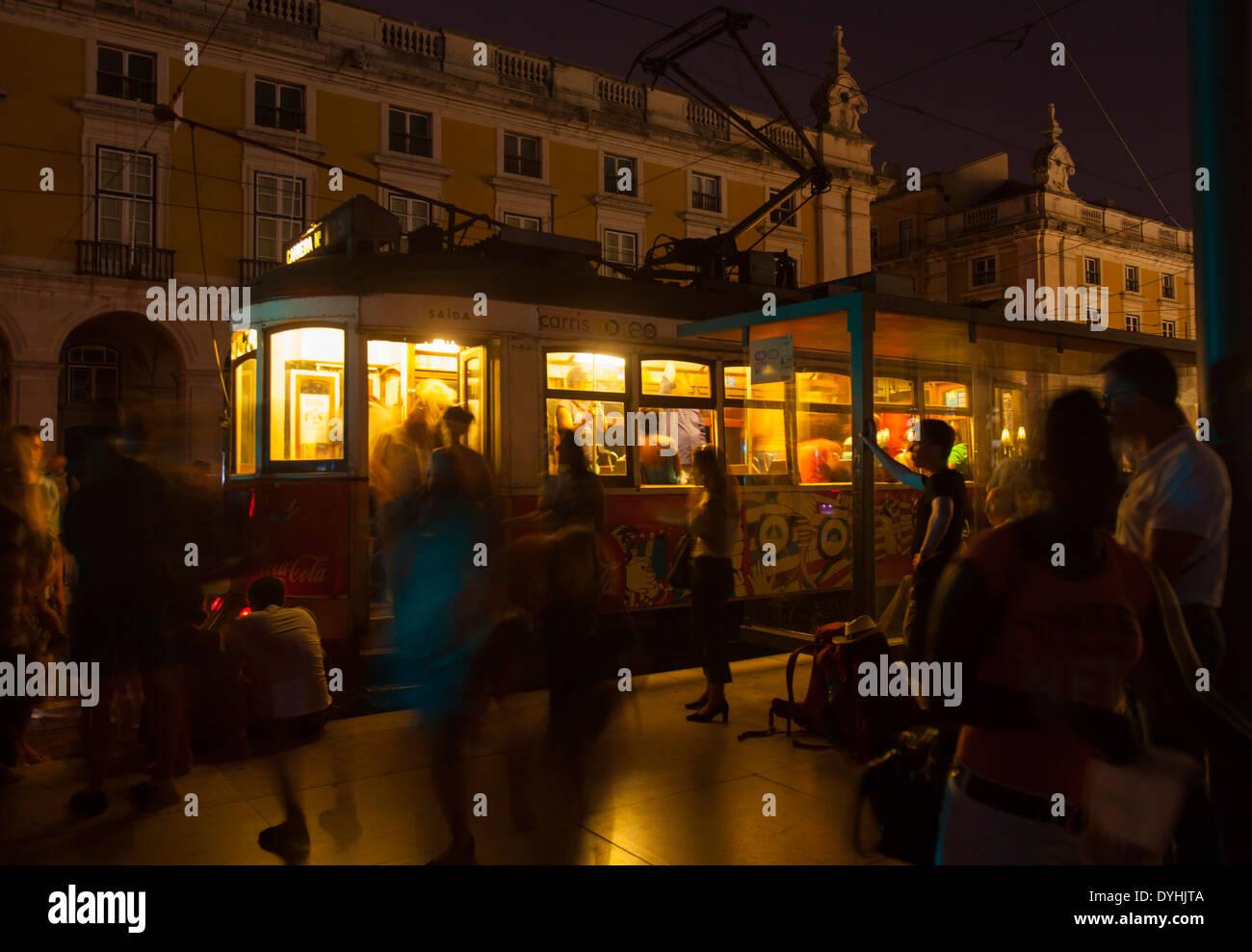Tram 28 at night, Praca do Comercio, Lisbon, Portugal. - Stock Image