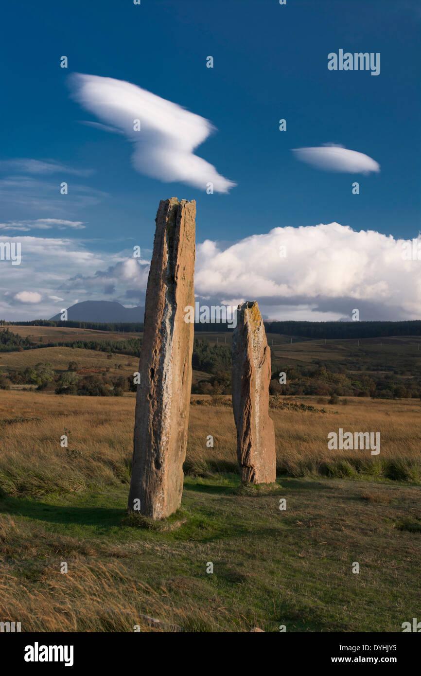 standing stones machrie moor isle of arran - Stock Image