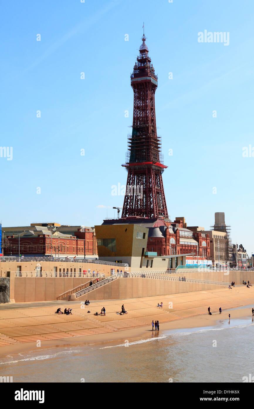 Blackpool Tower, Festival House, promenade and seafront regeneration, Lancashire, England, UK. - Stock Image