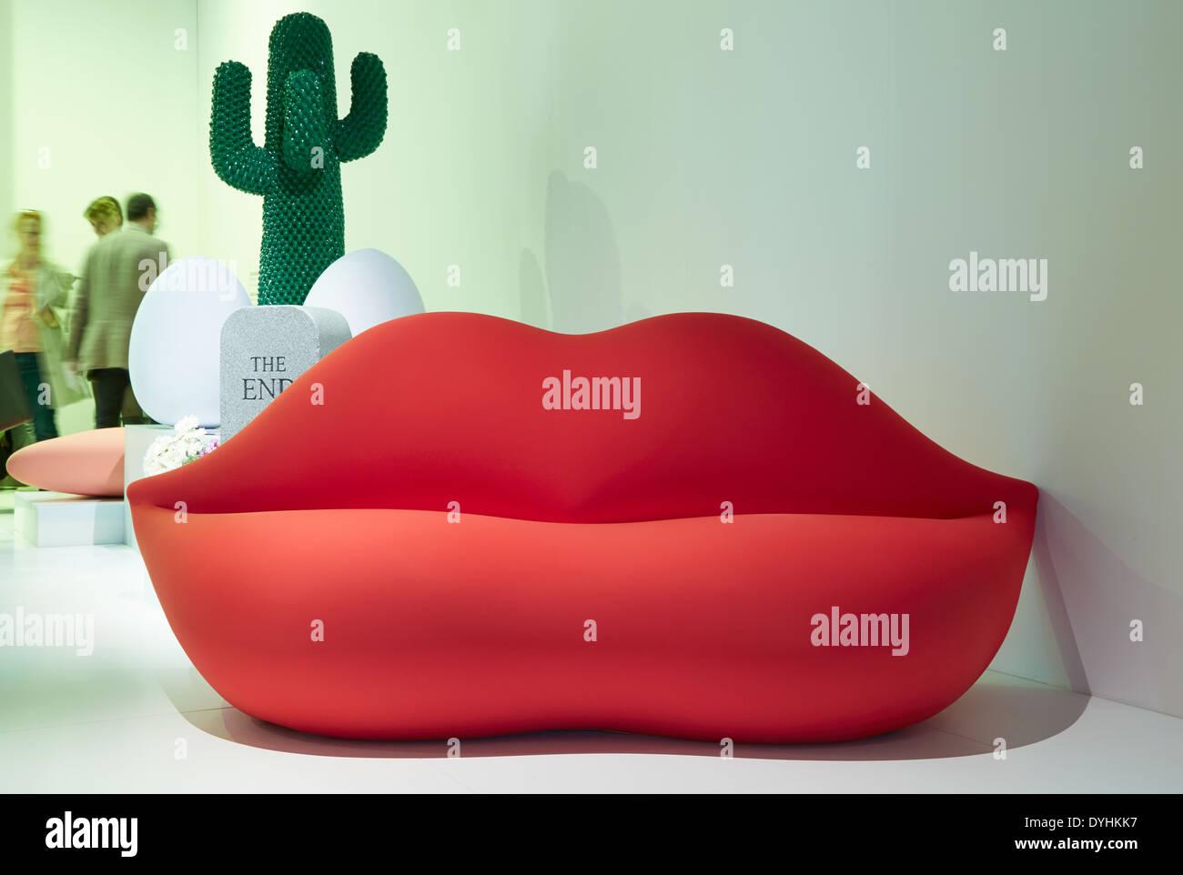Gufram Bocca Sofa At The Stand During Salone Internazionale Del Mobile In  Milan
