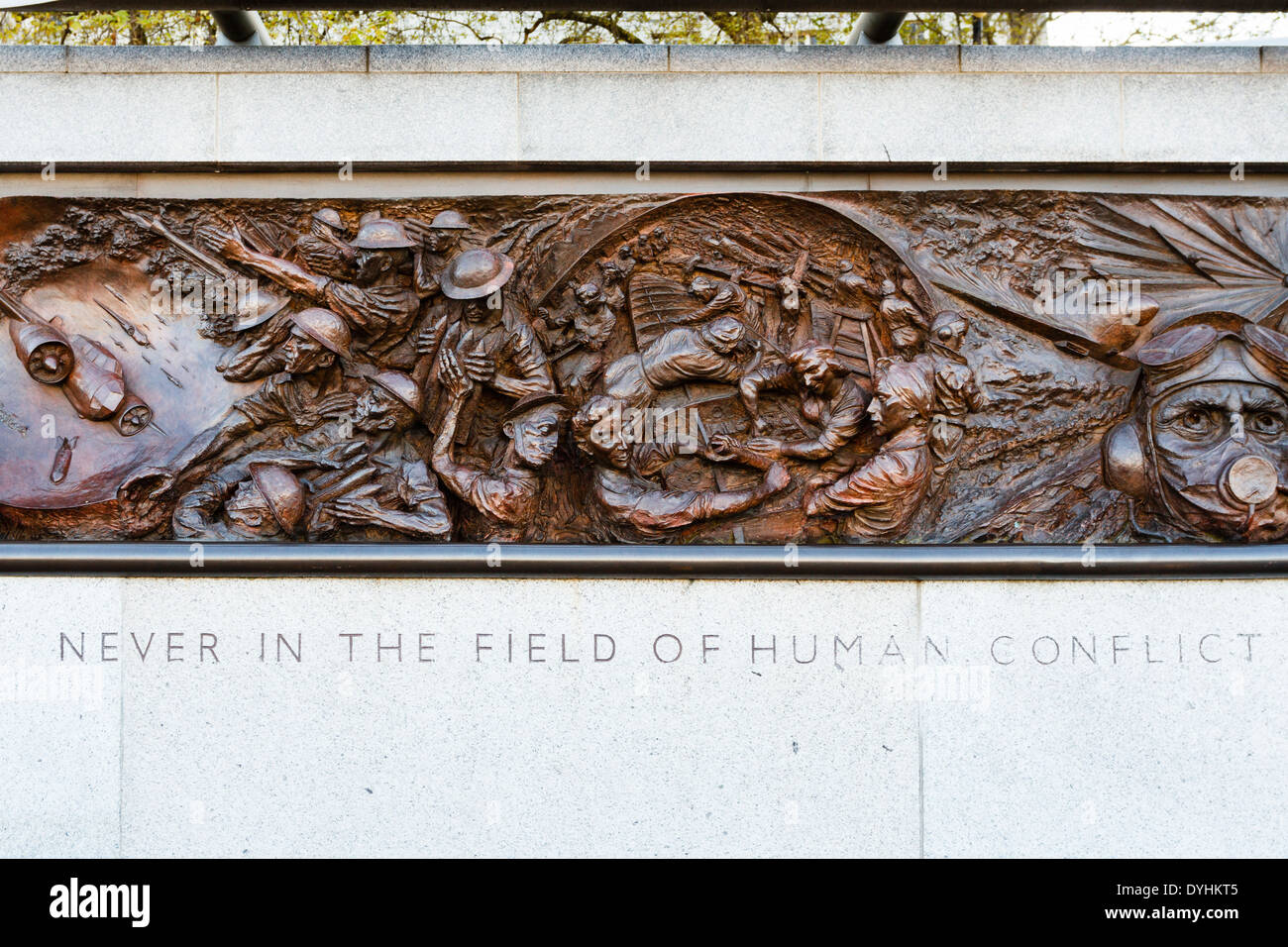 Battle of Britain Monument on Victoria Embankment reading 'Never in the field of human conflict' spoken by Winston Churchill. - Stock Image