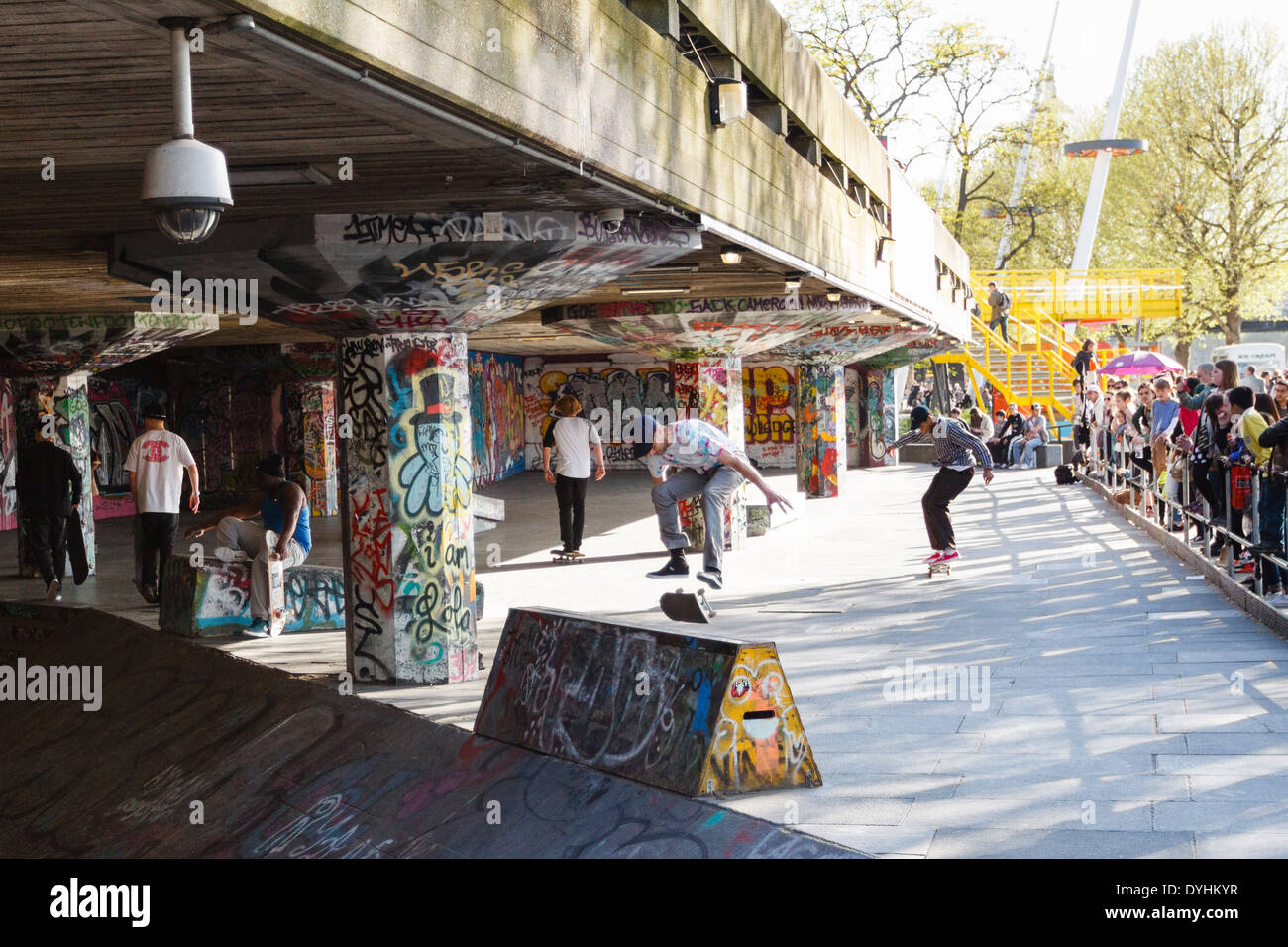 Skateboarders at the Southbank skatepark, undercroft of the Southbank Centre, London, England, UK - Stock Image