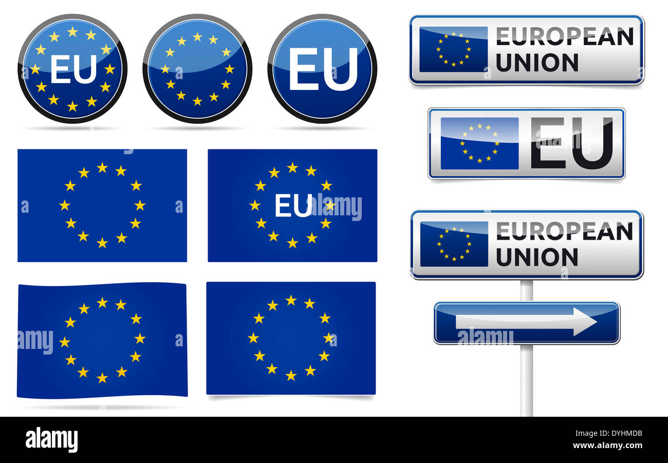 Europe union flag, traffic board, banner and symbols collection with shadow on white background. EU set. - Stock Image