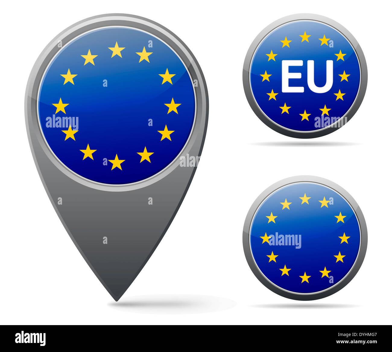 European union flag marker and button Stock Photo